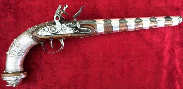 X X X SOLD X X Caucasian or Russian silver metal covered Flintlock Pistol. Good condition. Ref 8704.